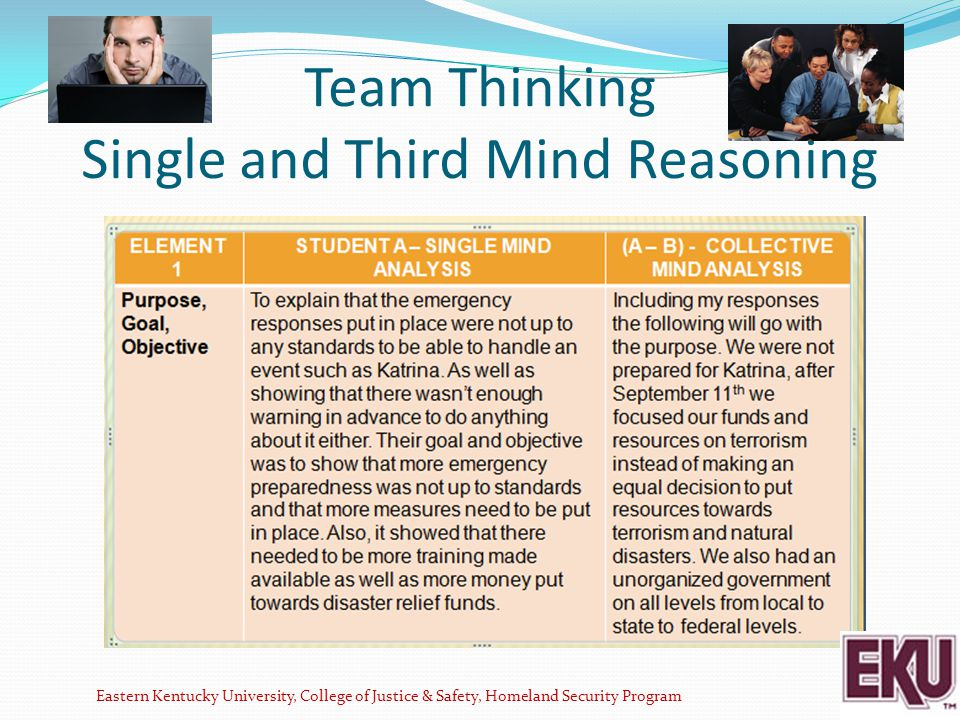 Team Thinking Single and Third Mind Reasoning Eastern Kentucky University, College of Justice & Safety, Homeland Security Program ELEMENT 1