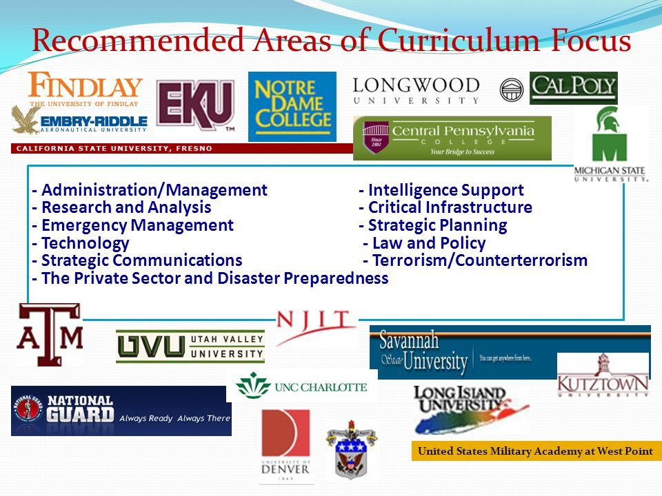 - Administration/Management- Intelligence Support - Research and Analysis - Critical Infrastructure - Emergency Management- Strategic Planning - Technology - Law and Policy - Strategic Communications - Terrorism/Counterterrorism - The Private Sector and Disaster Preparedness United States Military Academy at West Point Recommended Areas of Curriculum Focus