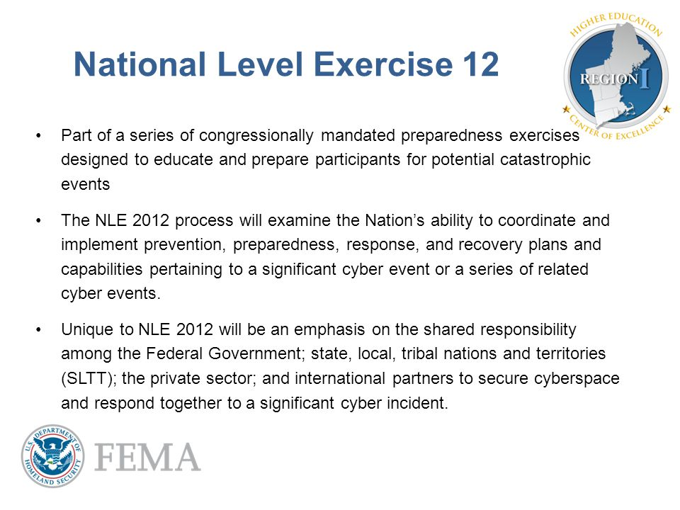 National Level Exercise 12 Part of a series of congressionally mandated preparedness exercises designed to educate and prepare participants for potent