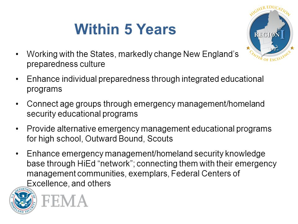 Within 5 Years Working with the States, markedly change New England's preparedness culture Enhance individual preparedness through integrated educatio