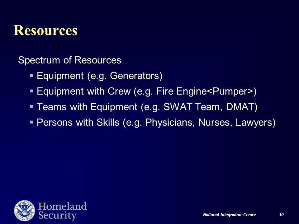 National Integration Center 10 Resources Spectrum of Resources  Equipment (e.g.