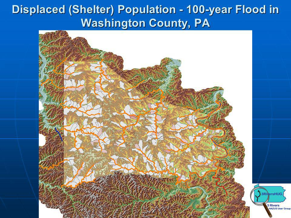 Displaced (Shelter) Population - 100-year Flood in Washington County, PA