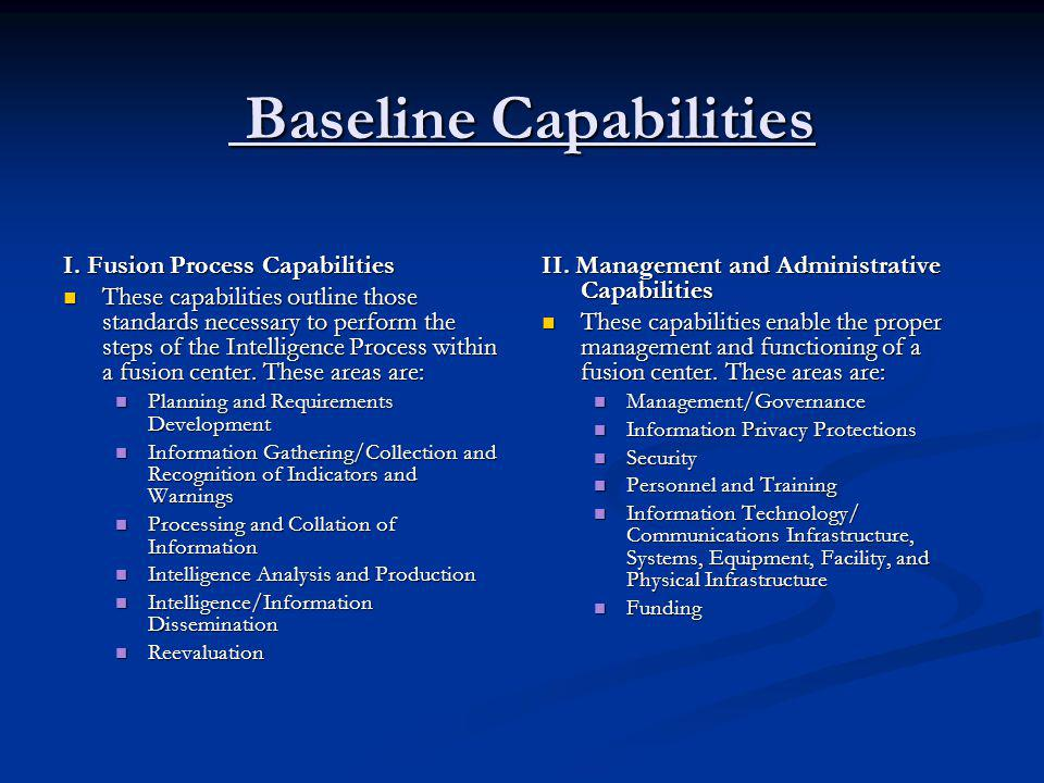 Baseline Capabilities Baseline Capabilities I. Fusion Process Capabilities These capabilities outline those standards necessary to perform the steps o