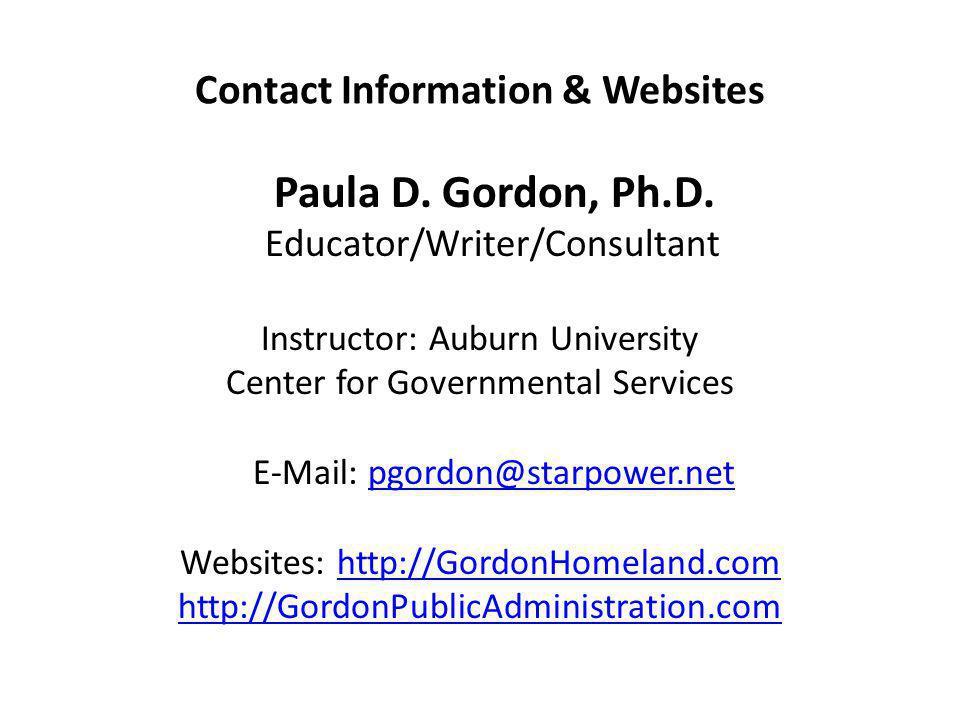 Contact Information & Websites Paula D. Gordon, Ph.D.
