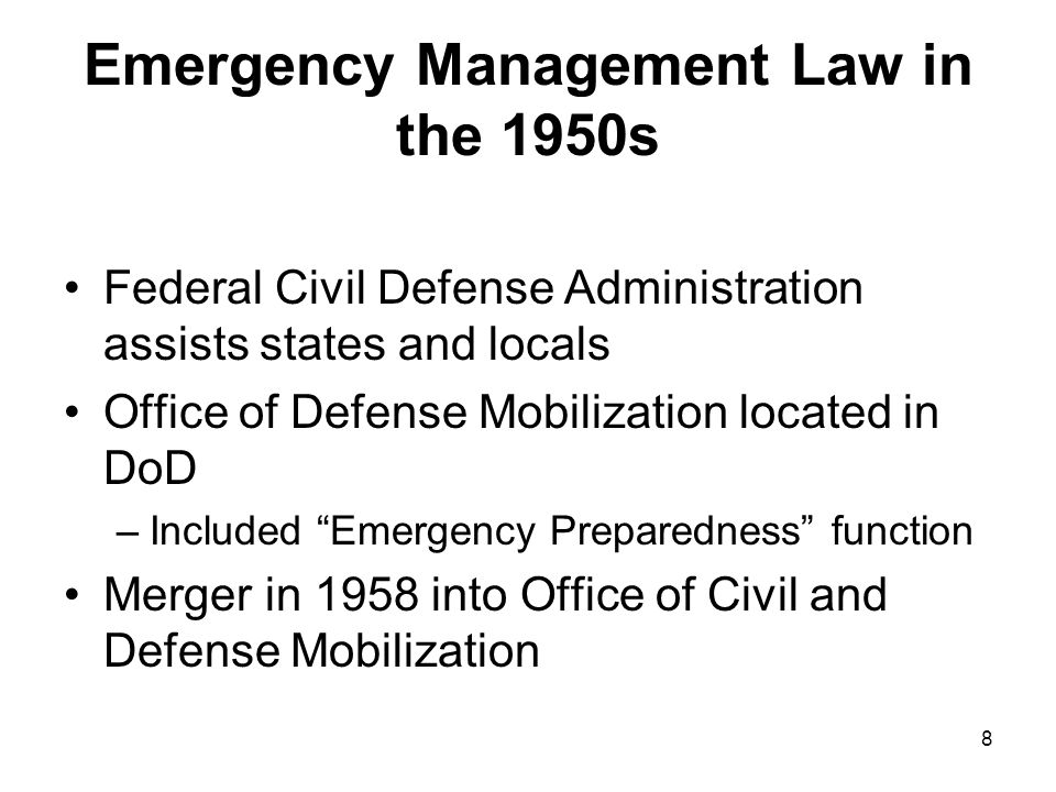 29 Homeland Security and Emergency Management Law After 9-11 Executive Order (EO) 13224 – Sept.