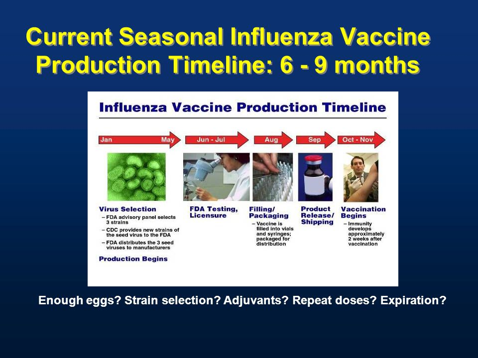 Current Seasonal Influenza Vaccine Production Timeline: 6 - 9 months Enough eggs? Strain selection? Adjuvants? Repeat doses? Expiration?