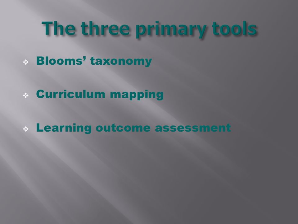  Blooms' taxonomy  Curriculum mapping  Learning outcome assessment