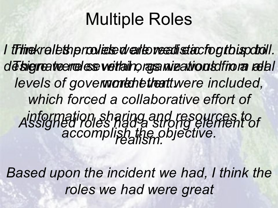 Multiple Roles The roles provided allowed each group to designate roles within, as we would in a real world event.
