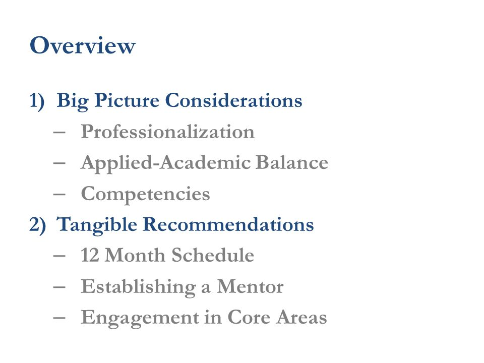 Overview 1)Big Picture Considerations – Professionalization – Applied-Academic Balance – Competencies 2)Tangible Recommendations – 12 Month Schedule – Establishing a Mentor – Engagement in Core Areas