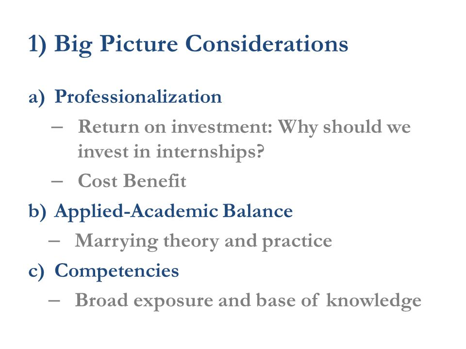 1) Big Picture Considerations a)Professionalization – Return on investment: Why should we invest in internships.