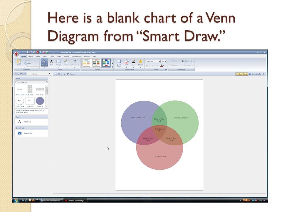 "Here is a blank chart of a Venn Diagram from ""Smart Draw."""