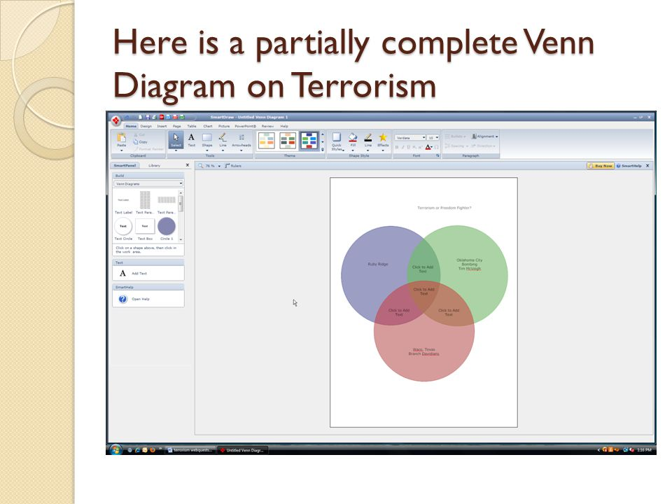 Here is a partially complete Venn Diagram on Terrorism