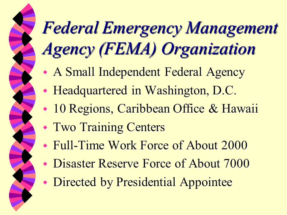 FEMA Mission w The mission of FEMA is to reduce the loss of life and property and protect our institutions from all hazards by leading and supporting the Nation in a comprehensive, risk-based emergency management program of mitigation, preparedness, response and recovery. (James Lee Witt, February 19, 1997)