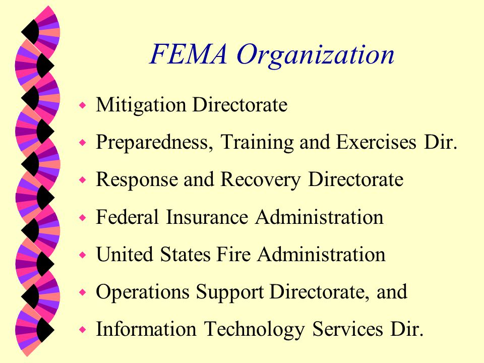 Selected FEMA Activities w Coordinates Federal Disaster Response w Customer Service Disaster Response w Practical Research Applications w EM Professional Development w Community Disaster Education w Integrated & Specific Hazard Programs w Promotes Mitigation Philosophy