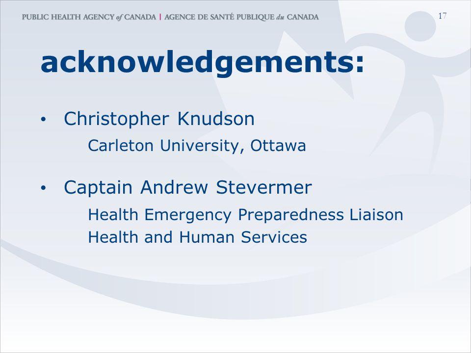17 acknowledgements: Christopher Knudson Carleton University, Ottawa Captain Andrew Stevermer Health Emergency Preparedness Liaison Health and Human Services