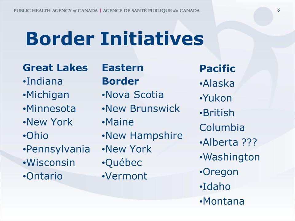 8 Border Initiatives Great Lakes Indiana Michigan Minnesota New York Ohio Pennsylvania Wisconsin Ontario Eastern Border Nova Scotia New Brunswick Maine New Hampshire New York Québec Vermont Pacific Alaska Yukon British Columbia Alberta .