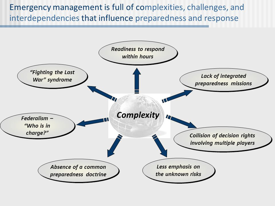 """Emergency management is full of complexities, challenges, and interdependencies that influence preparedness and response """"Fighting the Last War"""" syndr"""