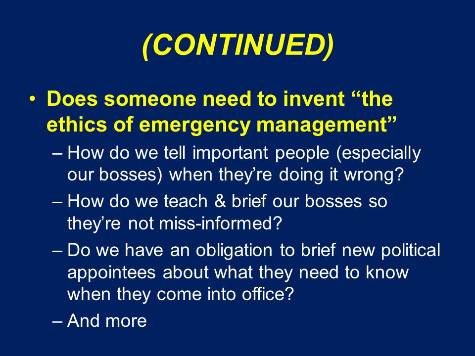12.THE CONTEXT OF EMERGENCY MANAGEMENT Does one size fit all .