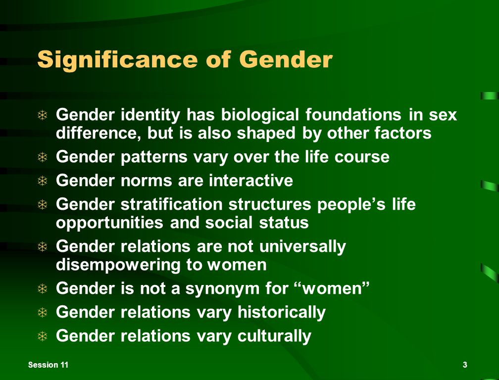 Session 113 Significance of Gender  Gender identity has biological foundations in sex difference, but is also shaped by other factors  Gender patter