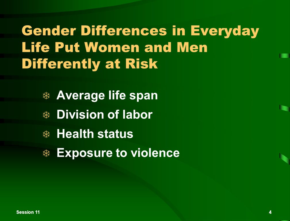 Session 114 Gender Differences in Everyday Life Put Women and Men Differently at Risk  Average life span  Division of labor  Health status  Exposu
