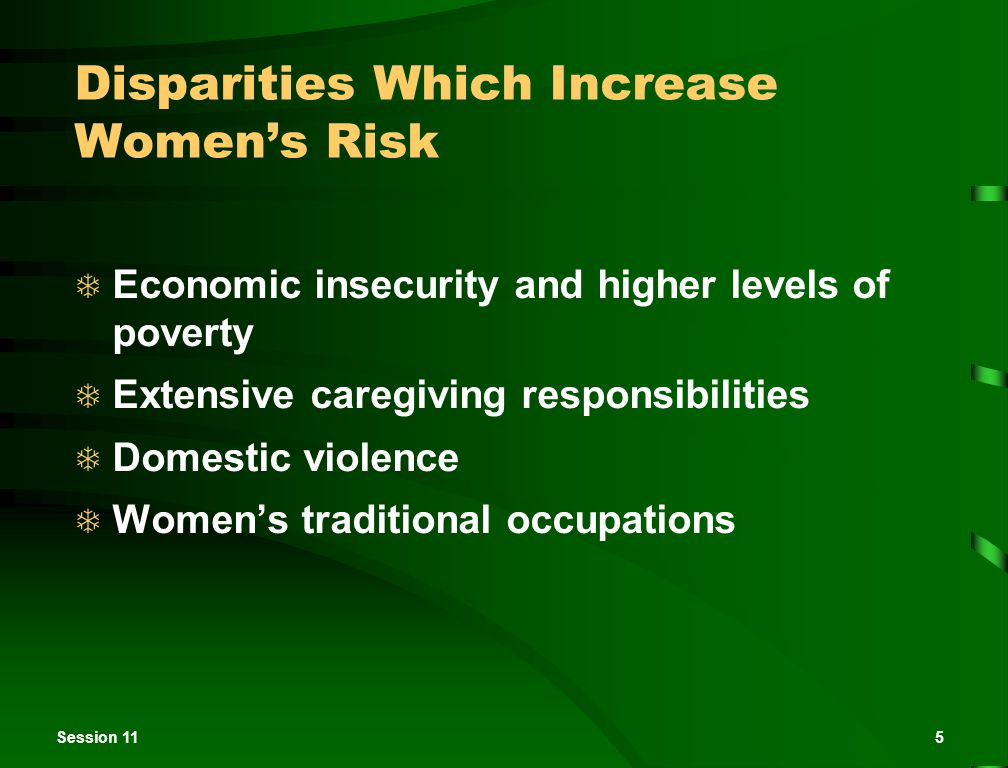 Session 115 Disparities Which Increase Women's Risk  Economic insecurity and higher levels of poverty  Extensive caregiving responsibilities  Domes