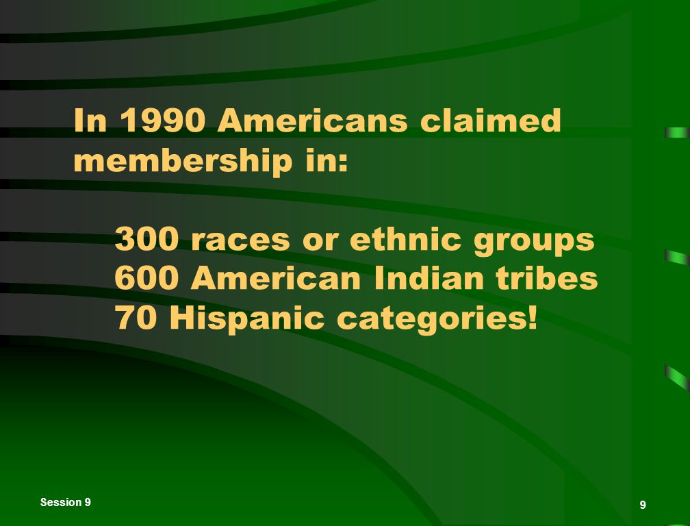 Session 9 9 In 1990 Americans claimed membership in: 300 races or ethnic groups 600 American Indian tribes 70 Hispanic categories.