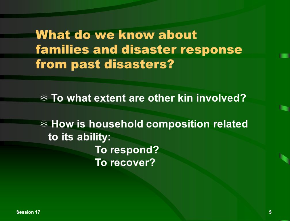 Session 175 What do we know about families and disaster response from past disasters.