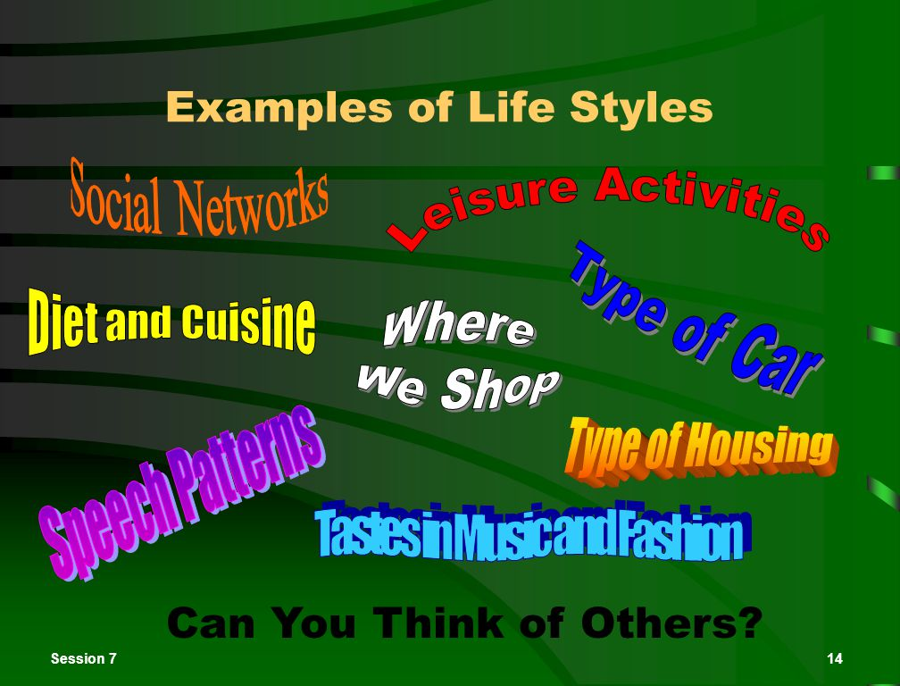 Session 714 Examples of Life Styles Can You Think of Others?