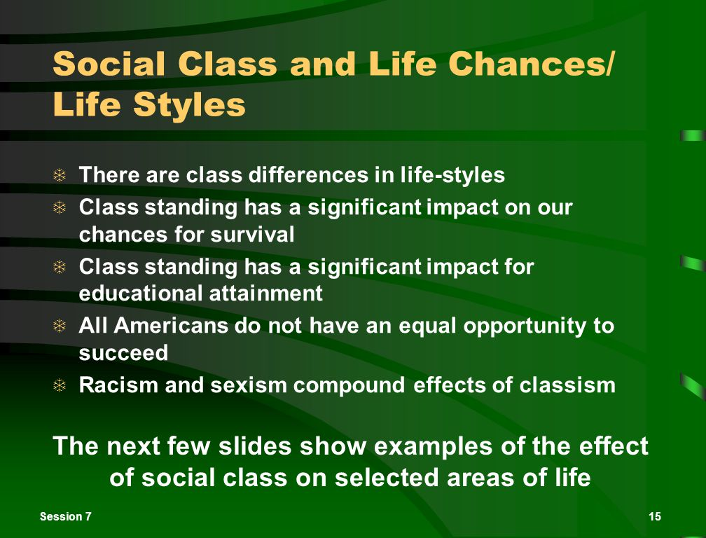 Session 715 Social Class and Life Chances/ Life Styles  There are class differences in life-styles  Class standing has a significant impact on our chances for survival  Class standing has a significant impact for educational attainment  All Americans do not have an equal opportunity to succeed  Racism and sexism compound effects of classism The next few slides show examples of the effect of social class on selected areas of life