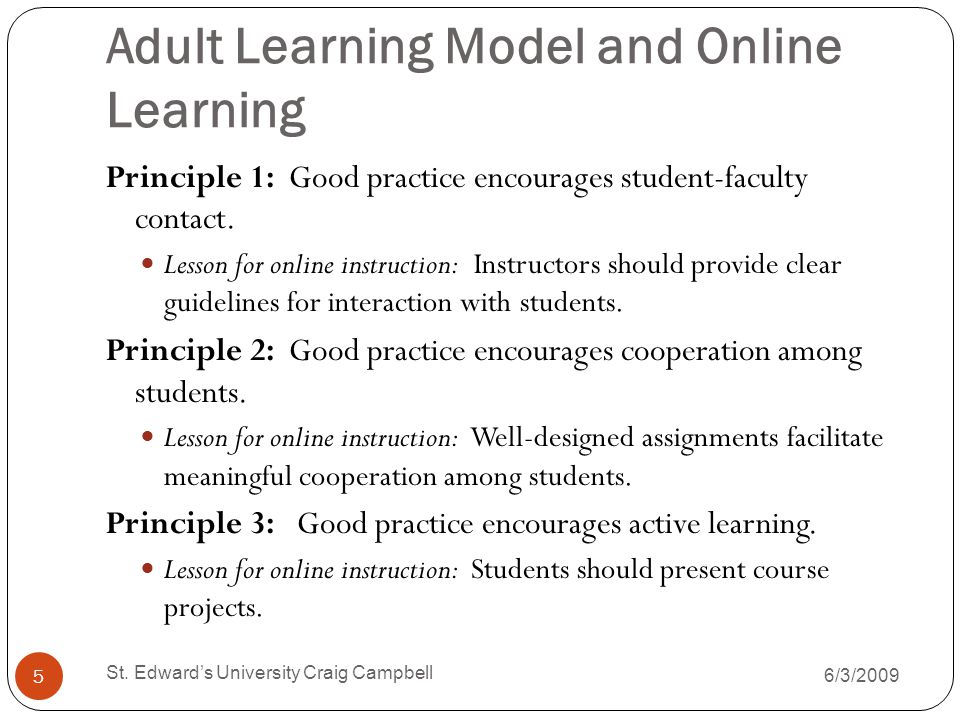 Adult Learning Model and Online Learning Principle 1: Good practice encourages student-faculty contact.