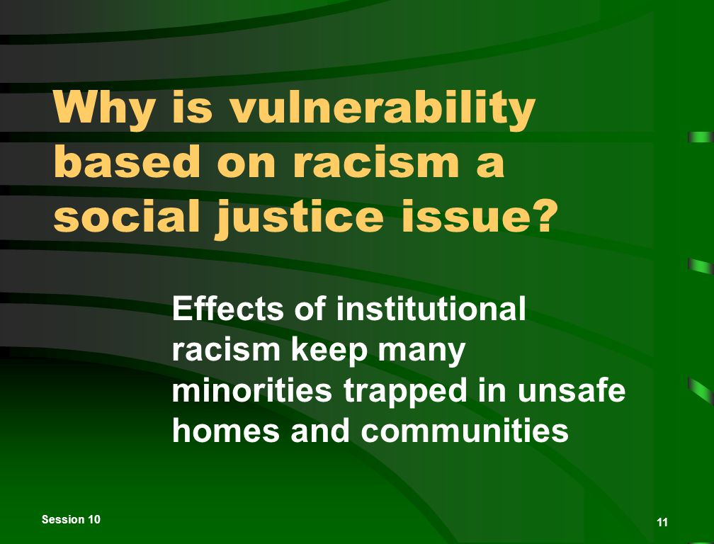 Session 10 11 Why is vulnerability based on racism a social justice issue.