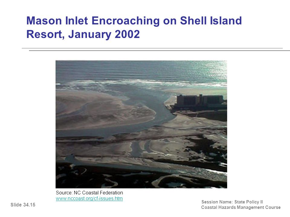 Mason Inlet Encroaching on Shell Island Resort, January 2002 Session Name: State Policy II Coastal Hazards Management Course Slide 34.15 Source: NC Coastal Federation www.nccoast.org/cf-issues.htm