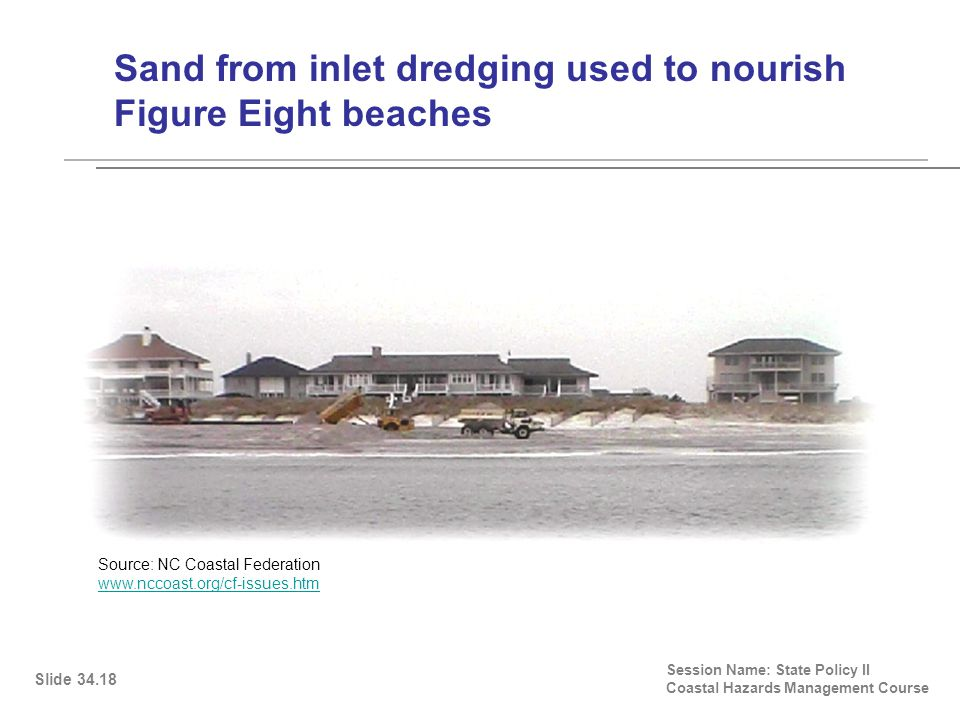 Sand from inlet dredging used to nourish Figure Eight beaches Session Name: State Policy II Coastal Hazards Management Course Slide 34.18 Source: NC Coastal Federation www.nccoast.org/cf-issues.htm