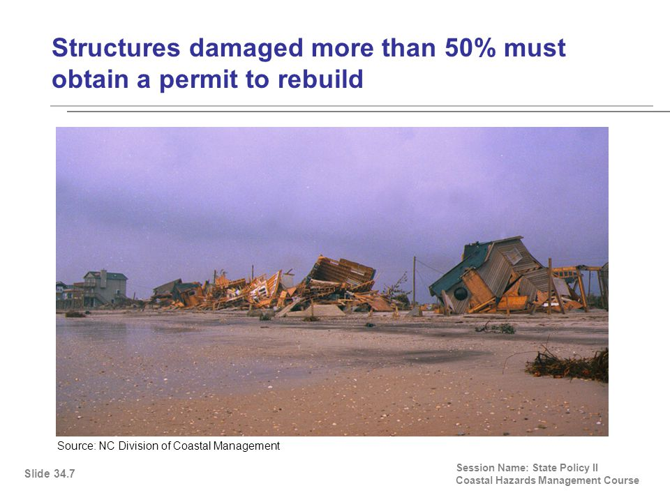 Structures damaged more than 50% must obtain a permit to rebuild Session Name: State Policy II Coastal Hazards Management Course Slide 34.7 Source: NC Division of Coastal Management