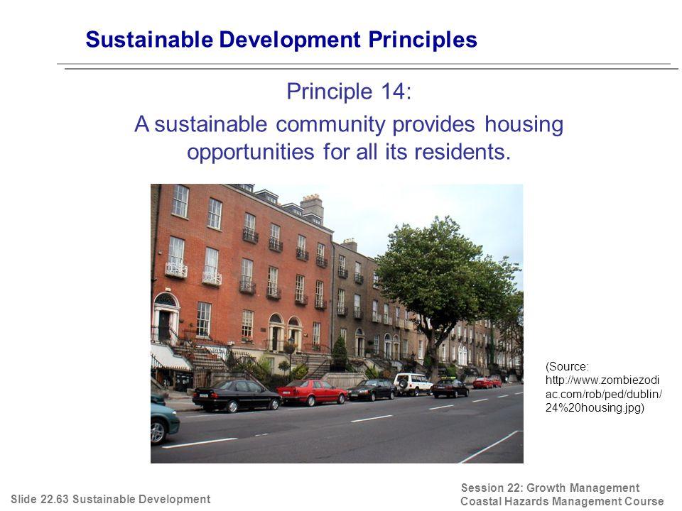 Session 22: Growth Management Coastal Hazards Management Course (Source: http://www.zombiezodi ac.com/rob/ped/dublin/ 24%20housing.jpg) Sustainable De