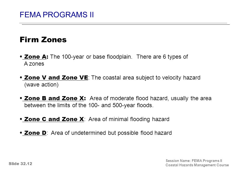 FEMA PROGRAMS II Session Name: FEMA Programs II Coastal Hazards Management Course Zone A: The 100-year or base floodplain. There are 6 types of A zone