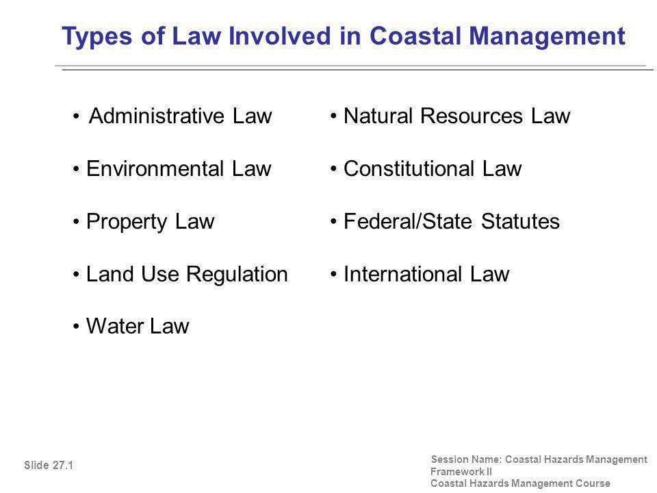 Types of Law Involved in Coastal Management Session Name: Coastal Hazards Management Framework II Coastal Hazards Management Course Administrative Law Environmental Law Property Law Land Use Regulation Water Law Slide 27.1 Natural Resources Law Constitutional Law Federal/State Statutes International Law