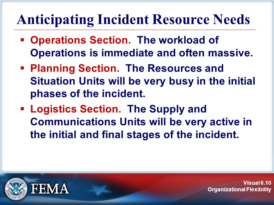 Visual 6.10 Organizational Flexibility Anticipating Incident Resource Needs  Operations Section.