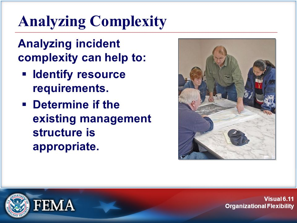 Visual 6.11 Organizational Flexibility Analyzing incident complexity can help to:  Identify resource requirements.