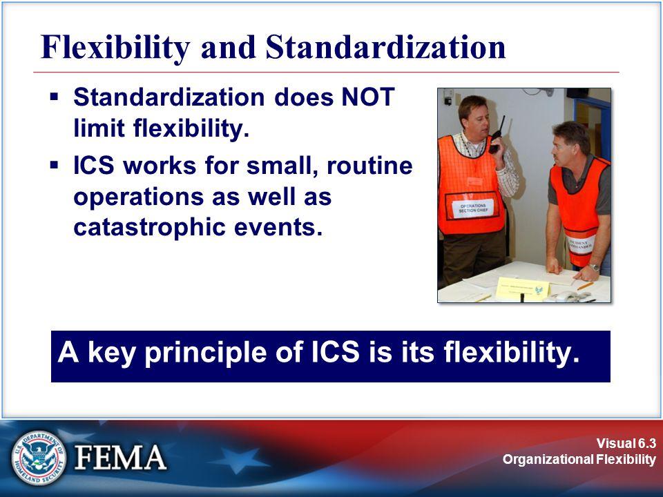 Visual 6.3 Organizational Flexibility A key principle of ICS is its flexibility.  Standardization does NOT limit flexibility.  ICS works for small,
