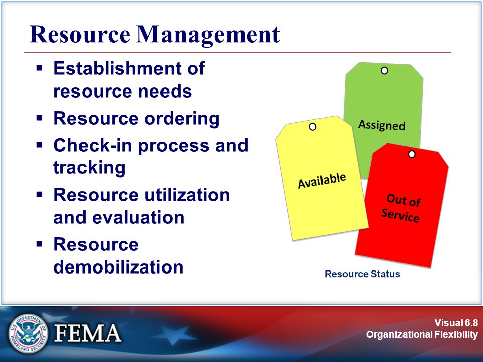Visual 6.8 Organizational Flexibility  Establishment of resource needs  Resource ordering  Check-in process and tracking  Resource utilization and evaluation  Resource demobilization Resource Management