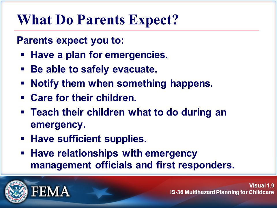 Visual 1.9 IS-36 Multihazard Planning for Childcare Parents expect you to:  Have a plan for emergencies.  Be able to safely evacuate.  Notify them