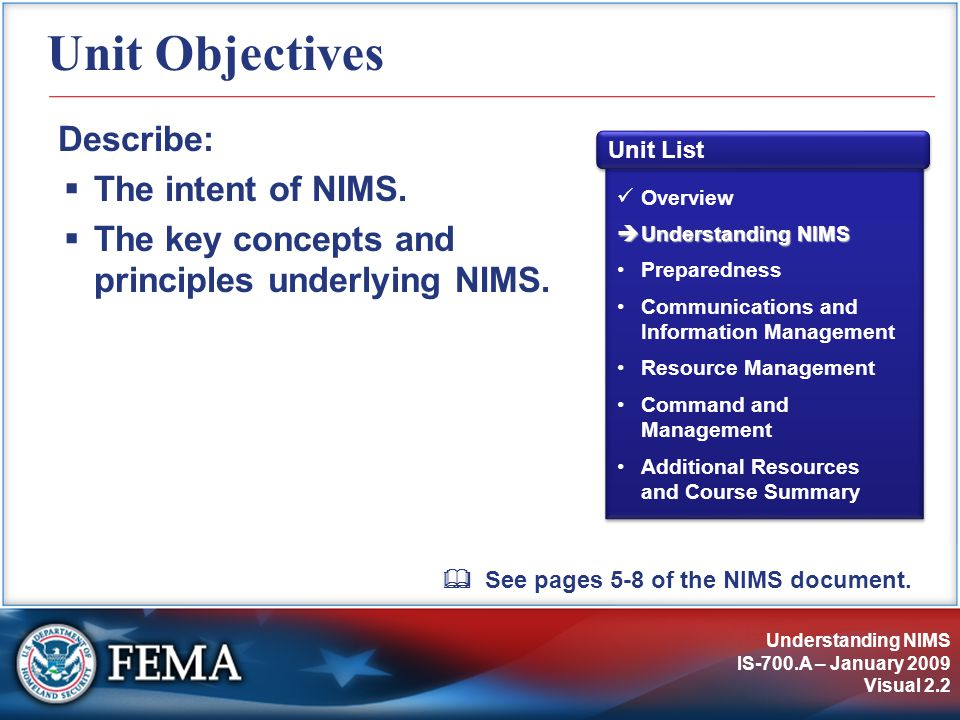 Understanding NIMS IS-700.A – January 2009 Visual 2.2 Unit Objectives Describe:  The intent of NIMS.