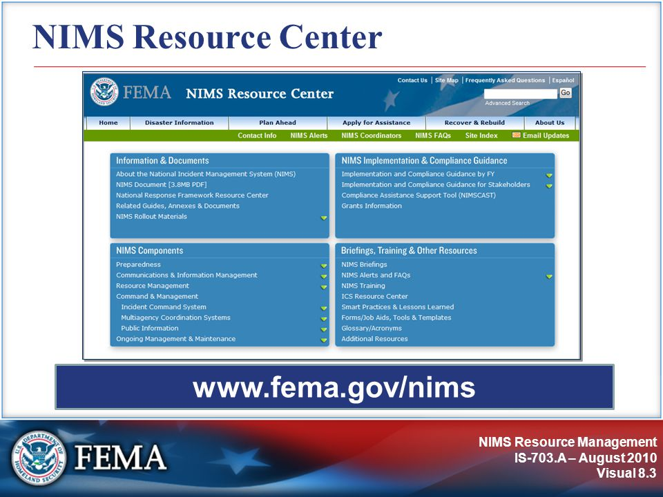 NIMS Resource Management IS-703.A – August 2010 Visual 8.4 Activity: Summary of Key Points Instructions: Working with your table group...
