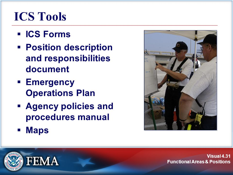 Visual 4.31 Functional Areas & Positions  ICS Forms  Position description and responsibilities document  Emergency Operations Plan  Agency policie
