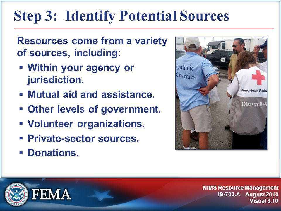 NIMS Resource Management IS-703.A – August 2010 Visual 3.10 Step 3: Identify Potential Sources Resources come from a variety of sources, including:  Within your agency or jurisdiction.