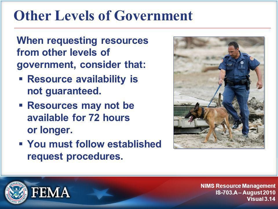 NIMS Resource Management IS-703.A – August 2010 Visual 3.14 Other Levels of Government When requesting resources from other levels of government, consider that:  Resource availability is not guaranteed.