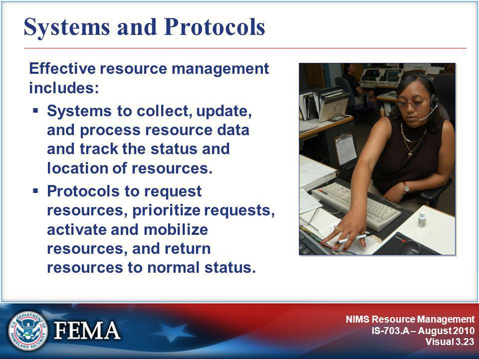 NIMS Resource Management IS-703.A – August 2010 Visual 3.23 Systems and Protocols Effective resource management includes:  Systems to collect, update, and process resource data and track the status and location of resources.
