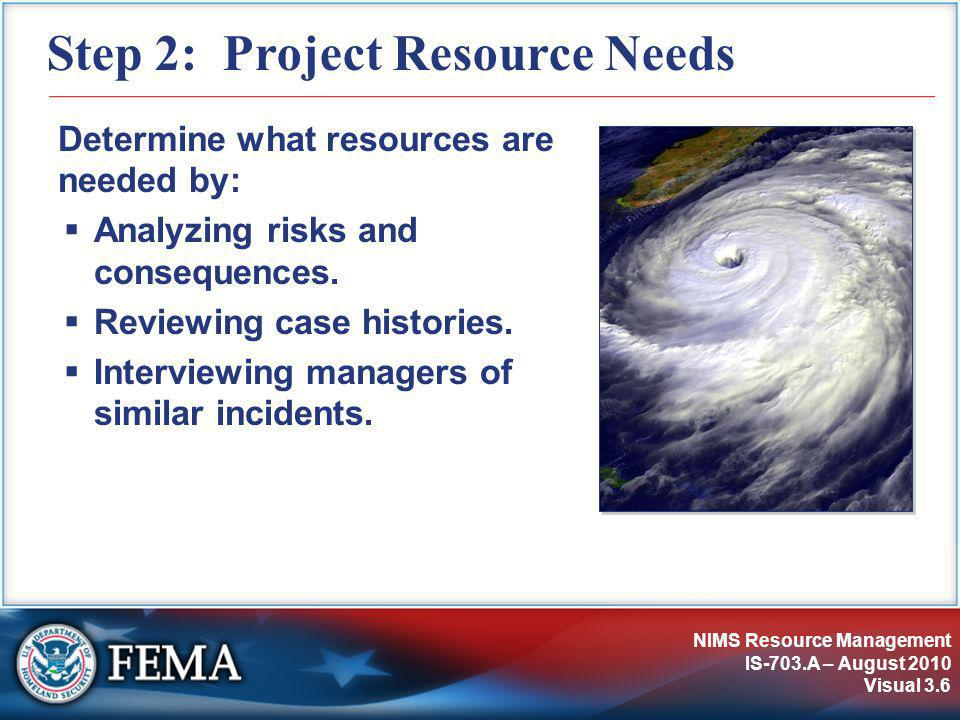 NIMS Resource Management IS-703.A – August 2010 Visual 3.6 Step 2: Project Resource Needs Determine what resources are needed by:  Analyzing risks an
