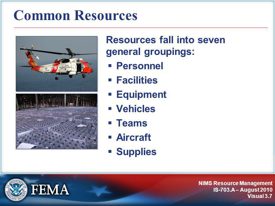 NIMS Resource Management IS-703.A – August 2010 Visual 3.7 Common Resources Resources fall into seven general groupings:  Personnel  Facilities  Eq